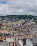 View of the streets and architecture in the historical city center of Rouen, France. Panoramic view of the streets and architecture in the historical city center stock photo