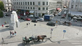 View of the streets in the center of Vienna. August 16, 2016, view of horse carriages on the roads in the center of Vienna stock video