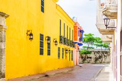 Streets with colonial buildings in old town of Cartagena - Colombia royalty free stock image
