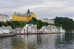 View on streets and houses at city Alesund, Norway Stock Photos