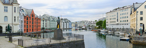 View on streets and houses at city of Alesund Royalty Free Stock Images