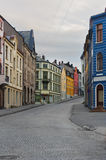 View on streets and houses at city of Alesund Stock Photography