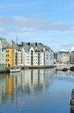 View on streets and houses at city Alesund, Norway Royalty Free Stock Image