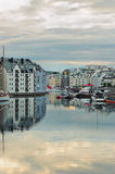 View on streets and houses at city Alesund, Norway Stock Image