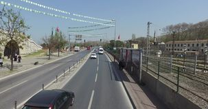 View the streets of Istanbul. ISTANBUL, TURKEY - 7 APRIL 2016: View the streets of Istanbul with a height of double decker bus: APRIL 7, 2016 in Istanbul, Turkey stock video