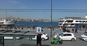 View the streets of Istanbul. ISTANBUL, TURKEY - 7 APRIL 2016: View the streets of Istanbul with a height of double decker bus: APRIL 7, 2016 in Istanbul, Turkey stock footage