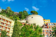 View of streets and landmarks. Villefranche-sur-Mer, Nice. Royalty Free Stock Photo