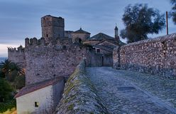 View of the streets of Trujillo (Spain) at dawn Royalty Free Stock Photo