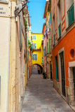 View of streets. Villefranche-sur-Mer, Nice, French Riviera. Stock Photo