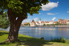 View from Strelecky island on Charles Bridge in Prague Stock Photos