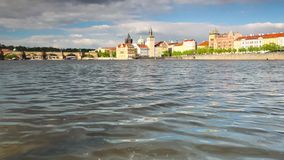 View from Strelecky island of Charles Bridge Royalty Free Stock Images