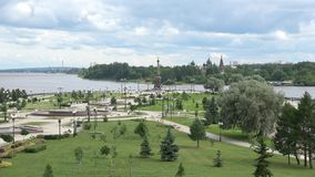 The view on the strelka of the rivers Volga and Kotorosl, cloud july afternoon. Yaroslavl stock footage
