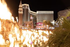 Las Vegas, NV, USA 09032018: night view of the Venetian from the Mirage Volcano royalty free stock photos