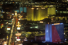 View of the strip at night from the Stratosphere Tower, NV Royalty Free Stock Images