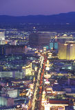 View of the strip at night from the Stratosphere Tower, NV Stock Image