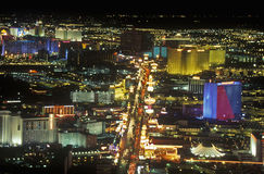 View of the strip at night from the Stratosphere Tower, NV Royalty Free Stock Photos