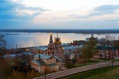 View Stroganov church in Nizhny Novgorod late evening Stock Photos