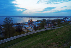 View Stroganov church in Nizhny Novgorod late evening. Russia Royalty Free Stock Images