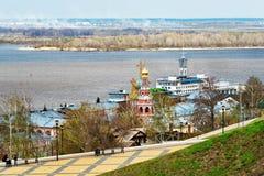 View Stroganov church in Nizhny Novgorod. Russia Stock Photos