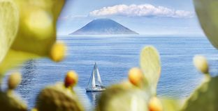 Aeolian Islands. View of Stromboli from Salina stock images