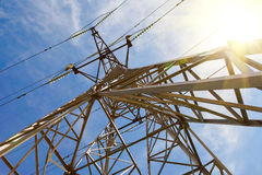 View of the structure under power transmission tower. Upward view of the structure under power transmission tower stock photos