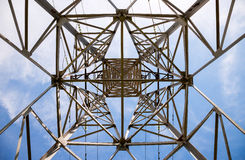 View of the structure under power transmission tower. Upward view of the structure under power transmission tower royalty free stock photo