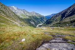 View of the Stubai Valley. Mountains and valleys, Hiking in the Stubai Alps royalty free stock image