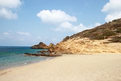 View of the stunning palm beach of Vai with blue, turquoise water on Crete stock photography