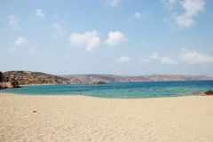 View of the stunning palm beach of Vai with blue, turquoise water on Crete royalty free stock images