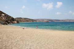 View of the stunning palm beach of Vai with blue, turquoise water on Crete royalty free stock photos