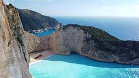 View of stunning Shipwreck Cove. Stunning view of the cliffs in Shipwreck Cove in summer on Zante Island, Greece stock footage