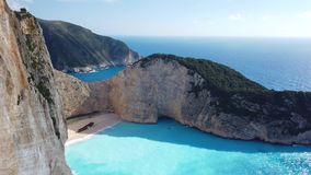 View of stunning Shipwreck Cove. Stunning view of the cliffs in Shipwreck Cove in summer on Zante Island, Greece stock video