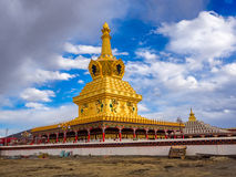 View of the stupas in Yarchen Gar Monastery Stock Images