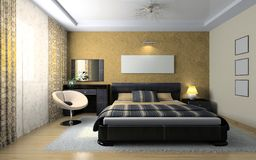 View on the stylish bedroom. 3D rendering Stock Photography