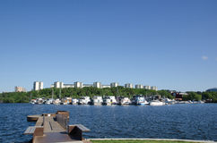 View at a suburban area in the green city of Stockholm - capital Royalty Free Stock Photos
