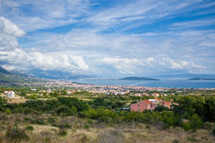 View on suburbans of Split from a train Royalty Free Stock Photo
