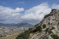 View of Sudak town from Ancient Genoese fortress in. Crimea, Rus Stock Photo