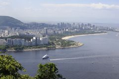 View from the Sugaloaf at Botafogo and other disctricts of Rio de Janeiro. Stock Photo