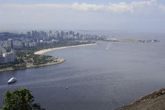 View from the Sugaloaf at Botafogo and other disctricts of Rio de Janeiro. Stock Photos