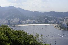 View from the Sugaloaf at Botafogo and other disctricts of Rio de Janeiro. Royalty Free Stock Image