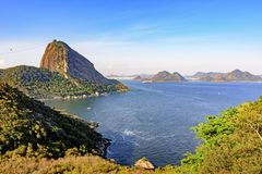 View of the Sugar loaf hill, Guanabara bay, sea, hills and mountains of Rio de Janeiro Royalty Free Stock Photos