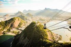 View of Sugar Loaf in Rio de Janeiro. RIO DE JANEIRO, BRAZIL - JANUARY 8, 2014: View of cable car from Sugar Loaf Mountain in Rio de Janeiro, Brazil stock photography