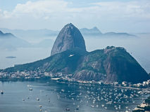 View of Sugarloaf Mountain from Mirante Dona Marta peak Stock Images