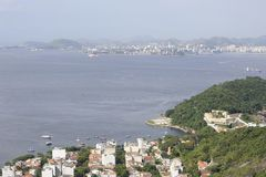 View from Sugarloaf, Pao de Azucar, at the Guanabara Bay. Royalty Free Stock Photography