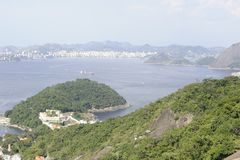 View from Sugarloaf, Pao de Azucar, at the Guanabara Bay. Stock Image