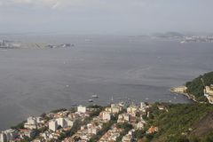 View from Sugarloaf, Pao de Azucar, at the Guanabara Bay. Royalty Free Stock Images