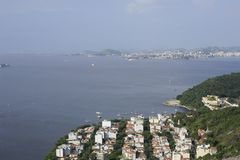 View from Sugarloaf, Pao de Azucar, at the Guanabara Bay. Stock Photography