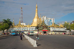 View of the Sule pagoda in the cloudy morning. Yangon, Myanmar Stock Photos