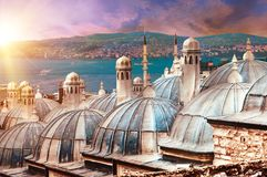 Suleymaniye Mosque. View from the Suleymaniye Mosque complex to the Golden Horn, Istanbul, Turkey. Sunset time Stock Images