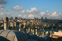 View from The Suleymaniye Mosque over The Istanbul. Some historical domes and chimneys are visible at the image Stock Photos